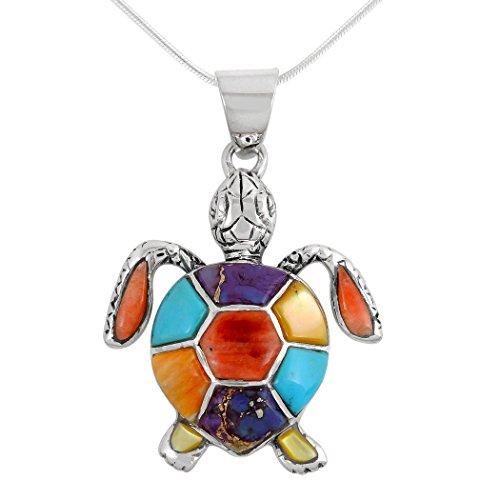 Silver Sea Turtle Necklace - Turtle Pendant Necklace in Sterling Silver 925 & Genuine Gemstones (20