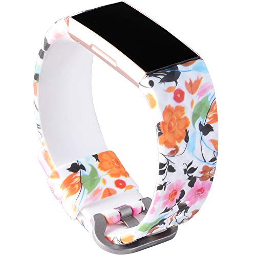 Allbingo 3D Cute Bands Compatible Fitbit Charge 3 & Charge 3 SE, Women Men Floral Replacement Strap Accessories Wristband Small Large for Fitbit Charge 3 Fitness Activity Tracker