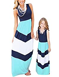 QD-WST Mommy and Me Matching Dresses Wave Striped Casual Print Tank Maxi Dress