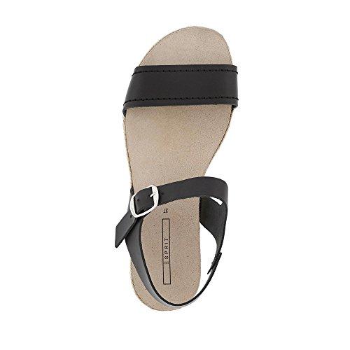 ESPRIT 047EK1W036-001 Keita Damen Sandale Aus Glattleder mit Riemchenverschluss Schwarz