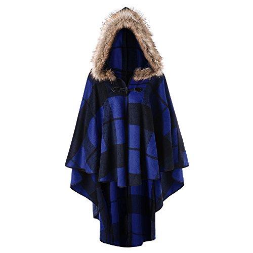 DEZZAL Women's Plus Size Classic Plaid High Low Faux Fur Hooded Cape Cloak (Blue, 2XL)