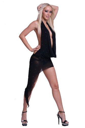 Avec Nylon Fashion Noir Cascade Strass Anns Robe Asymétrique xXnFO5wOq6