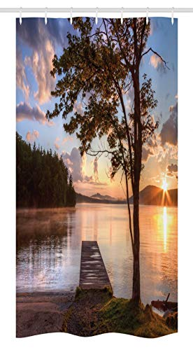 Ambesonne Seascape Stall Shower Curtain, Shore of Seventh Lake Tree Sunbeam at Sunset Water Reflection Tranquility, Fabric Bathroom Decor Set with Hooks, 36 W x 72 L Inches, Brown Peach ()