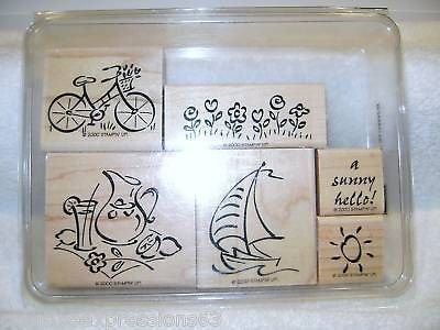 Stampin' Up! Simply Summer - Wood Mounted Rubber Stamps - Set of 6
