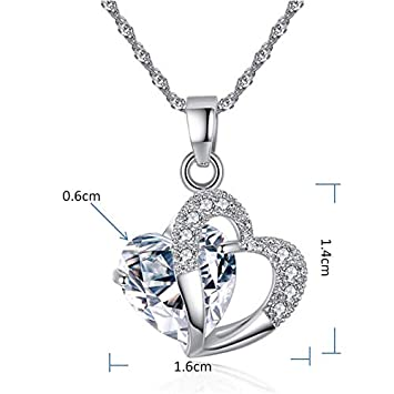 MoonHome Angel Wings Heart Crystal Rhinestone Silver Chain Pendant Necklace Romantic Jewelry Gifts for Valentines Day