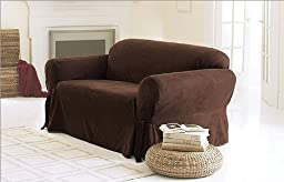 Chezmoi Collection Soft Micro Suede Solid Chocolate Brown Couch/sofa Cover Slipcover with Elastic Band Under Seat Cushion