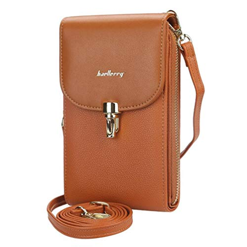 Price comparison product image Aismile Crossbody Backpack for Women Compatible with Case for Samsung Galaxy A10 A20E A40 A50 A60 A70 2019 Cell Phone Bags Zipper Wallets Leather Faux with Card Slots Clutch Travel Handbags,  Brown
