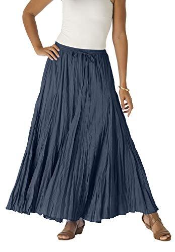 Jessica London Women's Plus Size Cotton Crinkled Maxi Skirt - Navy, 12