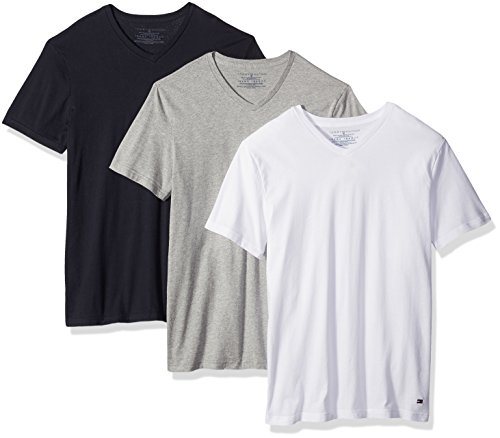 Tommy Hilfiger Men's Undershirts 3 Pack Cotton Classics V-Neck T-Shirt, White/Grey Heather/Navy, Medium (Tommy Hilfiger T Shirt Men)