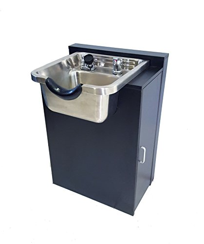 Stainless Steel Salon Shampoo Bowl w/ Floor Cabinet in Black