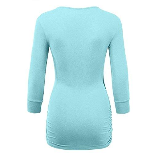 Unie Femmes Épissure Haut Bleu Clair Beikoard Neck Femme Femme Mode Chemisier Longue Manche Shirt T V Casual Blouse Blouses Lâche Blouse Couleur Tunique Tunique gCqXtRRW