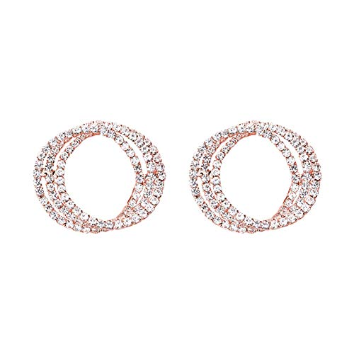 Taiguang Mother's Day Women Mother's Day Hollow Triple Circle Rhinestone Inlaid Stud Earrings Jewelry Gift - Rose Golden
