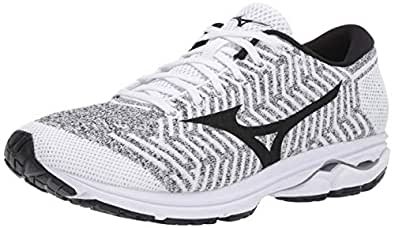Mizuno Men's Wave Rider 22 Knit Running Shoe, White/Black, 7 D US