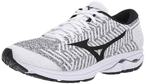 Mizuno Men's Wave Rider 22 Knit Running Shoe, White/Black, 9.5 D US