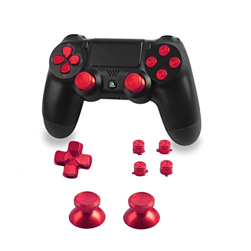 Xinkeen Aluminum Alloy PS4 Controller Replacement Thumbsticks Bullet ABXY Buttons and Directional Pad Mod Kit for Playstation 4 DualShock 4 (Red)