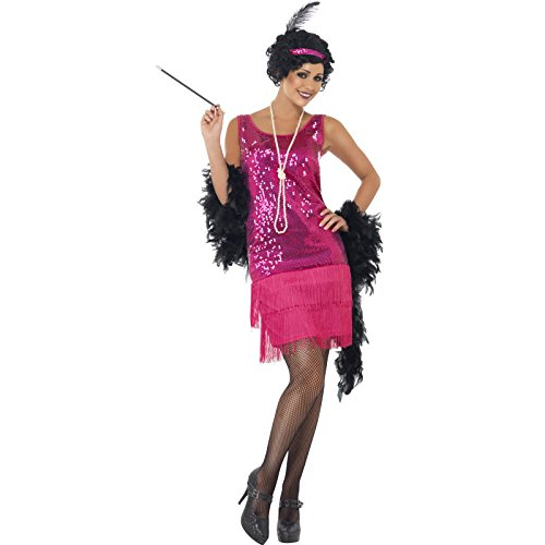 Smiffy's Women's Fun time Flapper Costume, Dress, Headpiece and Necklace, 20's Razzle Dazzle, Serious Fun, Size 6-8, (20 Style Halloween Costumes Uk)
