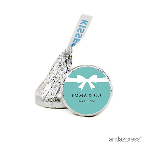 Andaz Press Personalized Chocolate Drop Labels Stickers Single, Emma & Co Baptism, 216-Pack, Custom Made Name, Fits Baby & Co Themed Hershey's Kisses Party Favors, Gifts, Decorations Personalized Baptism Favor Boxes