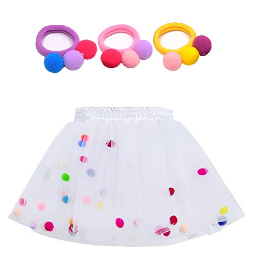 Bingoshine 4 Layers Soft Tulle Puff Ball Girls Tutu Skirts with Silky Lining Colorful Princess Costumes for Dressing Up. (White, L,4-6 Years)