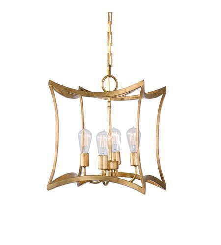 Pendants 4 Light with Gold Leaf Finish Steel Drum Material Carolyn Kinder 16 inch 240 ()