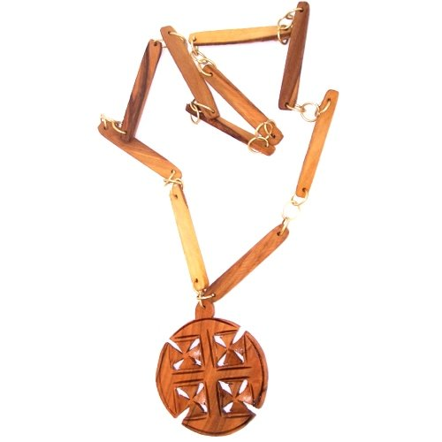 2.75 inches pendant and 70cm necklace with Certificate Extra Large Jerusalem Cross carved necklace by hand