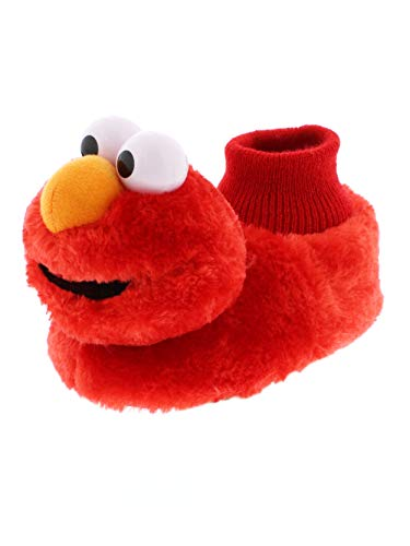 Sesame Street Elmo Little Kids Sock Top Slippers (7-8M US Toddler, Laugh Red)