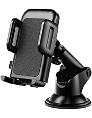 Car Phone Mount, Phone Holder for Car, Easy Installation with One-Touch Design Dashboard Windshield Car Phone Holder Compatible iPhone 12/11/11 Pro/Xs Max/XS/XR/X/8/7, Galaxy, Moto and More