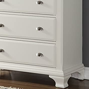 Roundhill Furniture B012C Laveno Wood 5-Drawer Chest, White