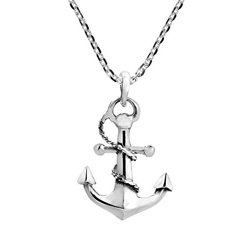 AeraVida Nautical Rope and Anchor .925 Sterling Silver Necklace