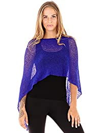 Womens Sheer Poncho Shrug Lightweight Knit One Size Fits Most