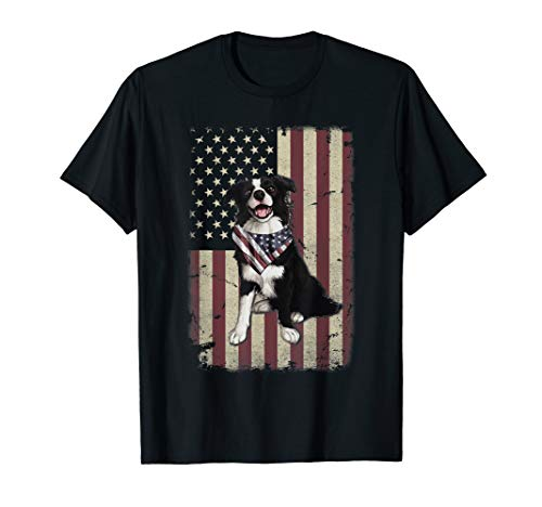 - Border Collie American Flag Bandana 4th Of July Tshirt Gifts