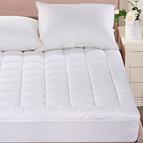 Merous Queen Size Cotton Hypoallergenic Fitted Quilted Mattress Pad Topper   Stretches up to 18 Inches Deep