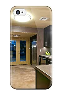 ZippyDoritEduard Scratch-free Phone Case For Iphone 4/4s- Retail Packaging - Brown And Gray Kitchen With Pendant Lights And Blue Glass Doors