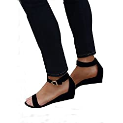 Women Summer Open Toe Ankle Strap Wedges Flat Sandals Casual Shoes