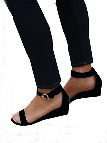 Women Summer Ankle Strap Wedges Flat Sandals Casual Shoes (US 8.5, black)