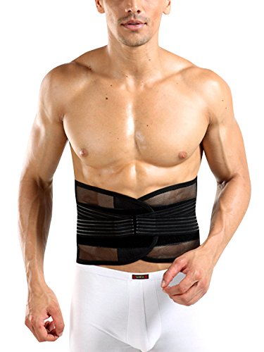 AIEOE Men's Waist Lumbar Trainer Girdle Adjustable Beer Belly Trimmer Control Adjustable Slimming Belt Belly Fat Burner Back Support Weight Loss XL - Black