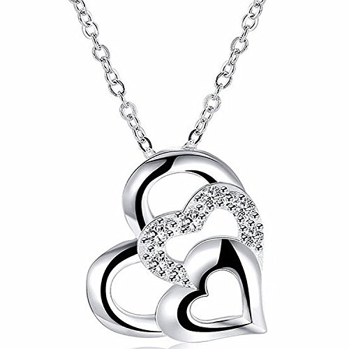 Majesto Open Triple-Heart Love Crystal Pendant Necklace for Women Teen Girls Prime Jewelry Gift 18K Gold Plated