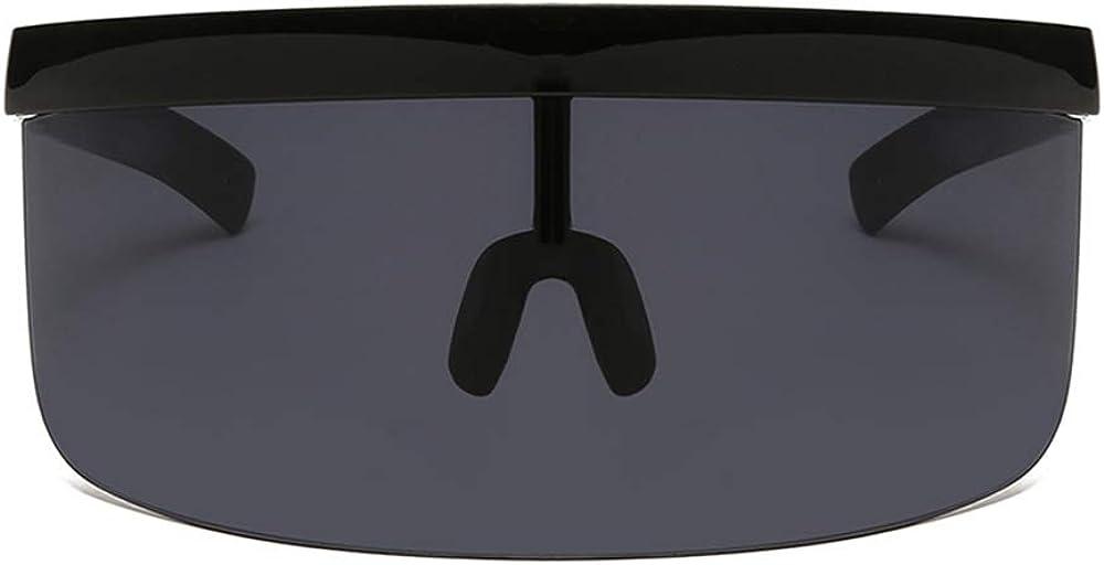 Long Keeper Occhiali da Sole con Visiera a Scudo Sovradimensionata Occhiali da Sole Futuristici Flat Top per Uomini Donne
