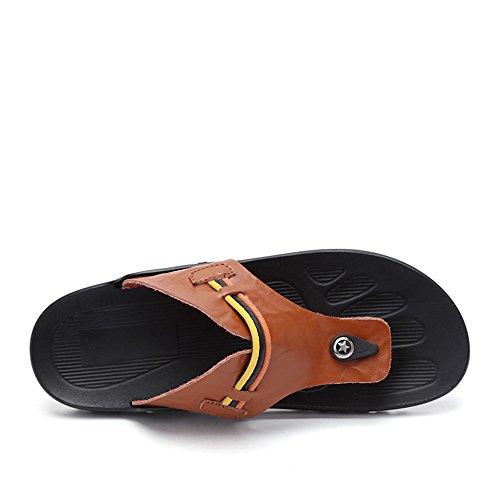 Marrone Color da con Scarpe uomo Dimensione antiscivolo in larga 43 BINODA Infradito Sandali EU Orange fascia PU Infradito pelle Sandali spiaggia Sandali da EcTWBq47