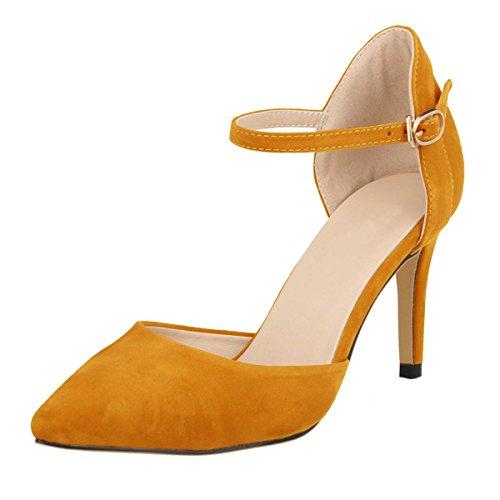 HooH Women's Flannel D-orsay Ankle Strap Wedding Dress Sdandal Orange EuJIIL52Kn