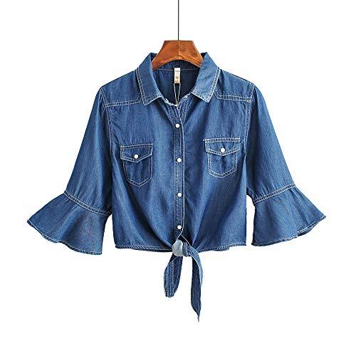 2019 Summer Denim Shawl Short Coat Knotted Sunscreen Shirt Trumpet Sleeve Dark Blue XL