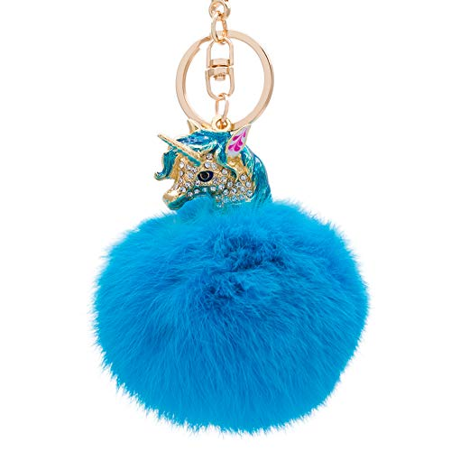 (Pom Keychain with Rabbit Fur Ball and A Gold Alloy Unicorn Head with Rhinestone for Women Backpack Car Key Pendant Decoration (bright Blue))