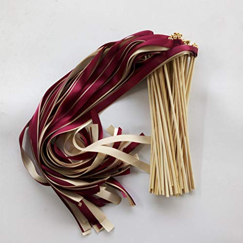 50 Pcs Wine Cream Wedding Ribbon Wands Fairy Sticks with Gold Bell for Wedding Favor Party Decoration
