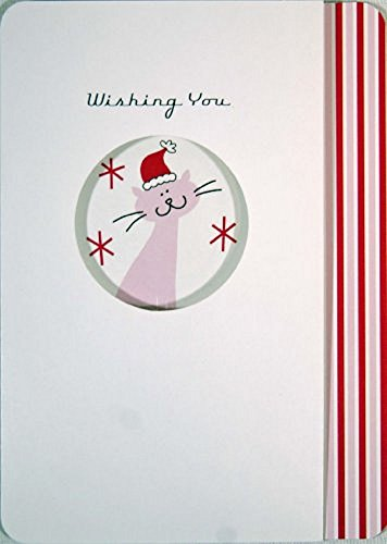 Christmas Holiday Cards Featuring a Pink Kitty Cat by Running Rhino & Co. (Pack of 14 Cards) - 14k Kitty