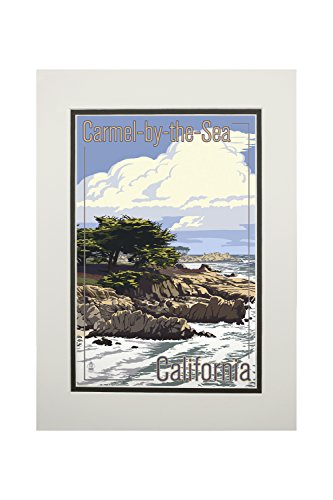 Carmel-by-the-Sea, California - View of Cypress Trees (11x14 Double-Matted Art Print, Wall Decor Ready to Frame)