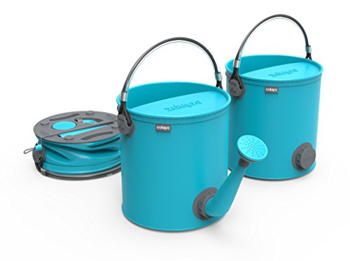 COLOURWAVE Collapsible 2-in-1 Watering Can/Bucket, 7-Liter, Aqua Blue
