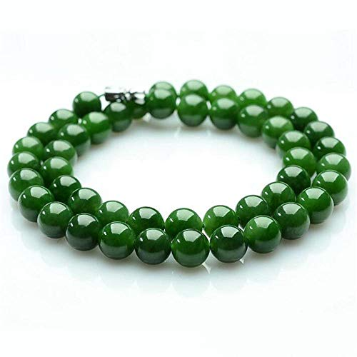 Zhiming Jade Necklace Female Natural Jade Hetian Jasper Round Bead Necklace