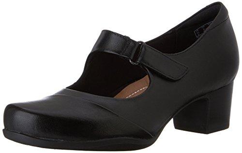 Clarks Women's Rosalyn Wren Pump, Black Leather, 8 M US by CLARKS