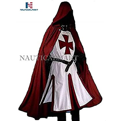 Image of Body Armor NauticalMart Medieval LARP Knights Templar Cross Surcoat & Cloak Reenactment Halloween White/Dark Red