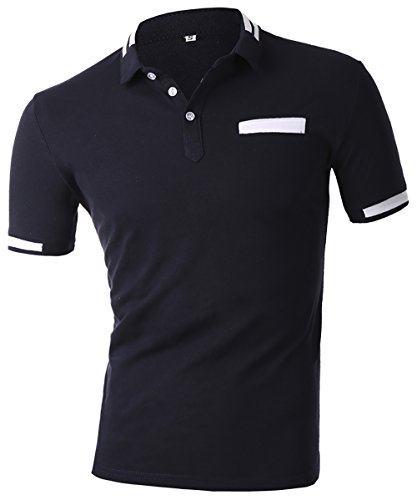 HSRKB Men Business Casual Polo T-Shirt-Navy Blue-XL by HSRKB (Image #2)