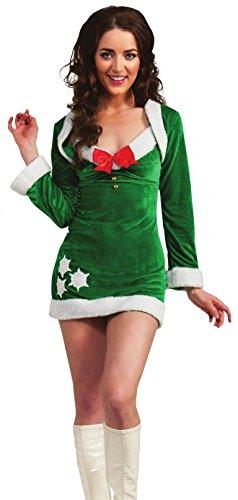 Secret Wishes Snowflirt Costume, Green/White, X-Small
